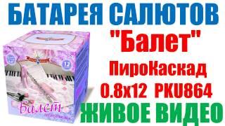 """Тест Балет PKU864  (0,8"""" х 12)  батарея салютов ПироКаскад Ж�ВОЕ В�ДЕО"""