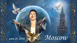 Honoring Michael Jackson. Releasing the white pigeons for MJ. 25th of June, 2019. Moscow, Russia