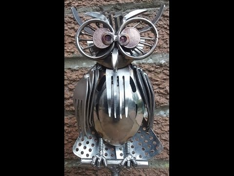 Recycled scrap metal cutlery Owl sculpture, welding art time lapse how to build