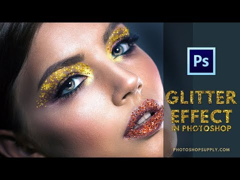 GLITTER EFFECT IN PHOTOSHOP: Digital Makeup Using FREE Glitter Brushes & Patterns (2019)