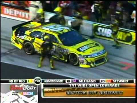 Dave Blaney Carl Edwards Pukes in Car Into the Wall The Coke 400 Sprint Cup Race Daytona 2011.mpg