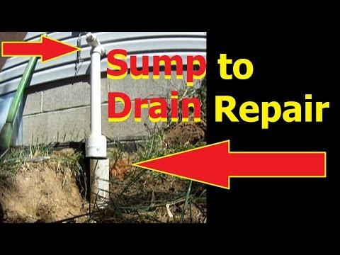 SUMP pump discharge to DRAIN repair Downspout drain DiY waterproofing
