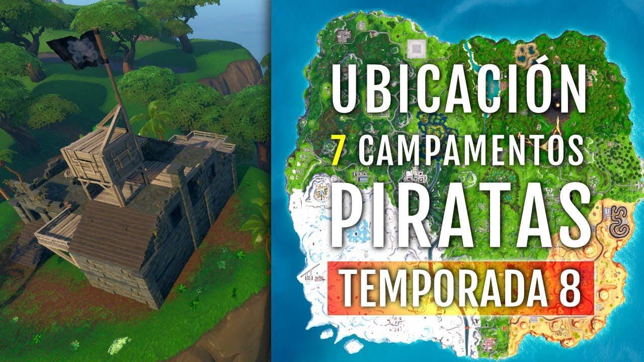 ubicacion 7 campamentos piratas - ubicacion de todos los campamentos piratas fortnite