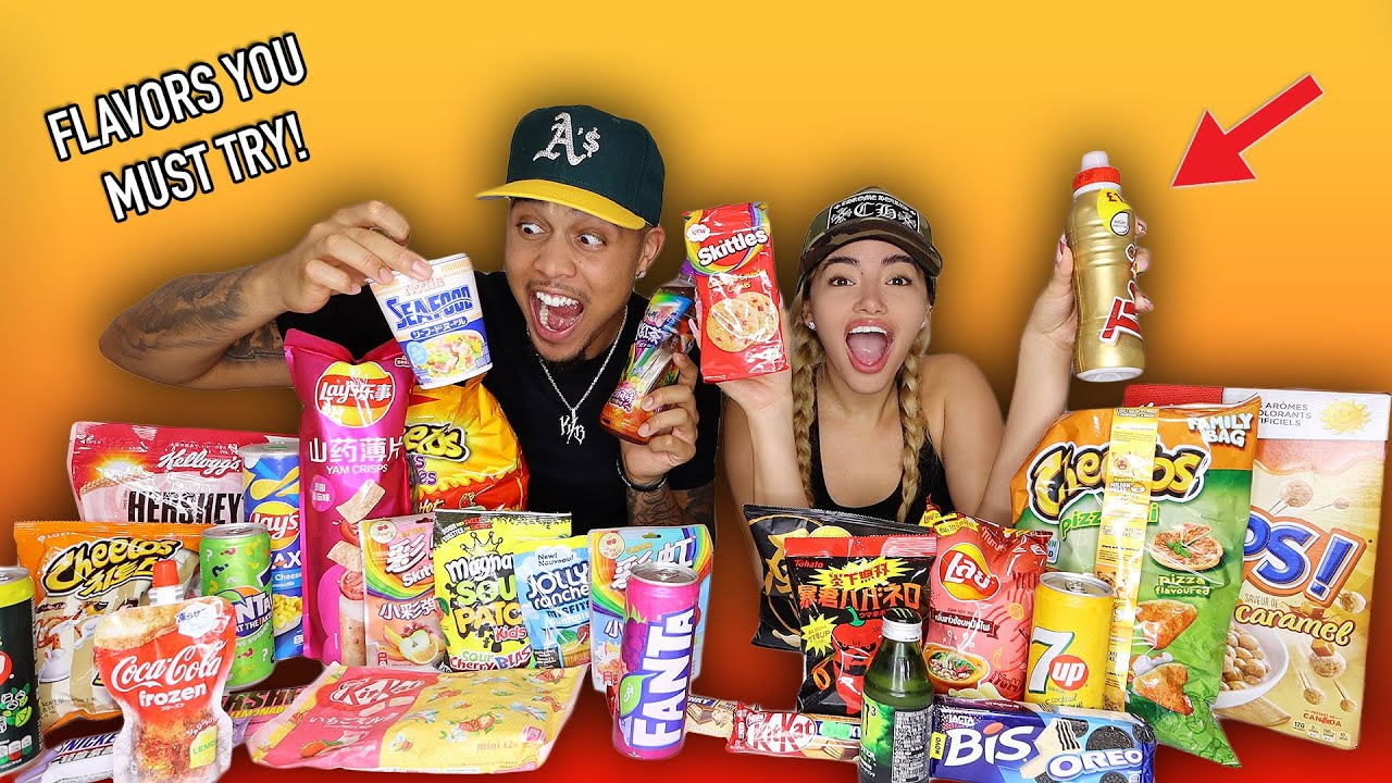 TRYING EXOTIC SNACKS WE DIDN'T EVEN KNOW EXISTED!! (PART 2)  **AMAZING!!**