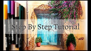 How to Draw A door of an old house in one point perspective|Step by Step