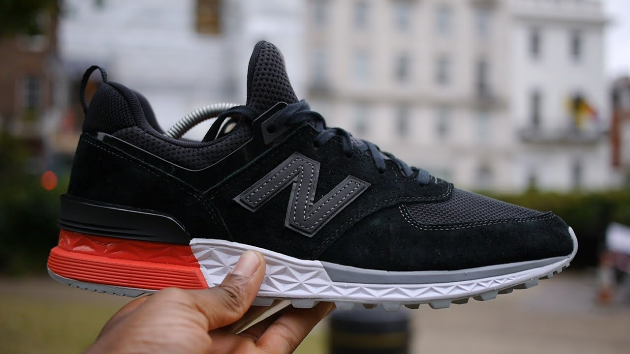 new balance black 574 sport trainers