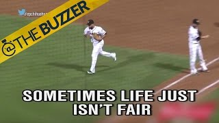 Batter hits a foul ball… that somehow becomes a fair ball   @TheBuzzer   FOX SPORTS