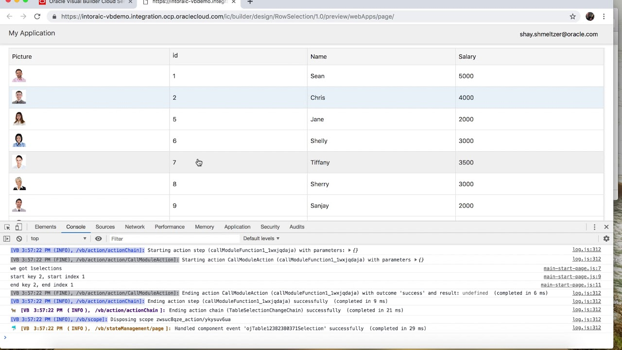 Working with Multiple Row Selection Tables in Visual Builder