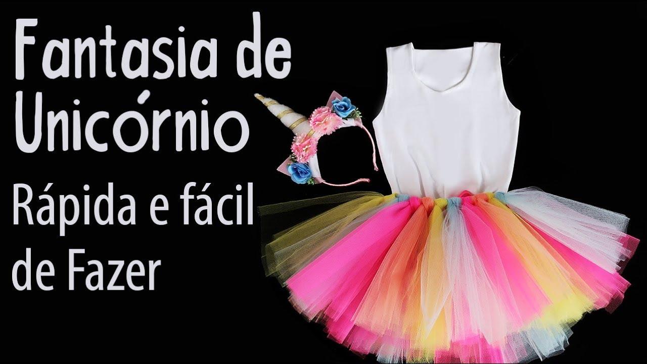 Fantasia De Unicornio Facil E Rapida De Fazer Saia E Tiara Youtube