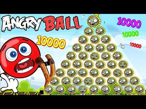 1000 ЗОМБИ ЦВЕТКОВ НАПАЛИ НА КРАСНЫЙ ШАРИК  В Энгри Бердз Red Ball 4 Angry Birds Plants vs zombies 2