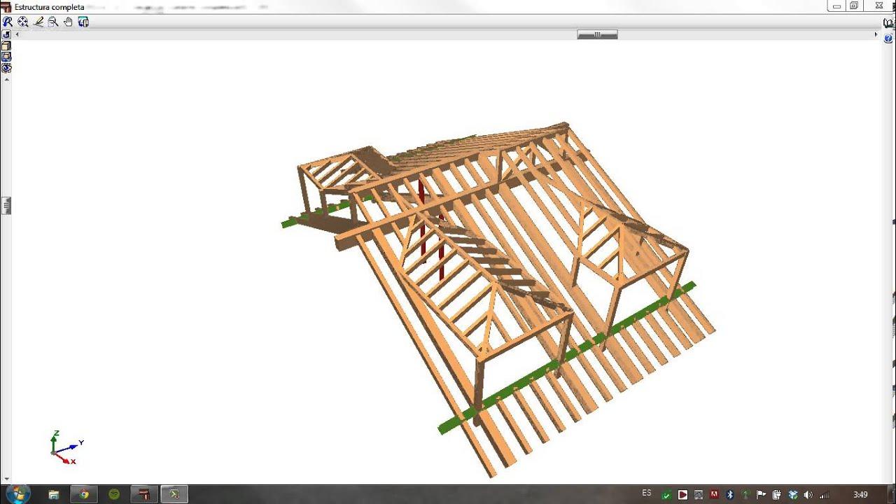 Arf arquitectura calculo de estructura de cubierta youtube - Estructura de madera para cubierta ...