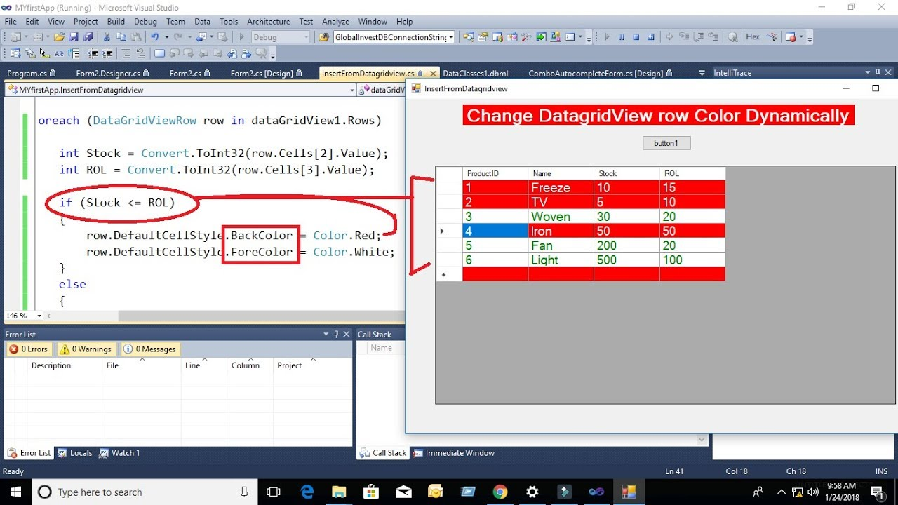 how to change datagridview row color based condition in c# with source code  dynamically