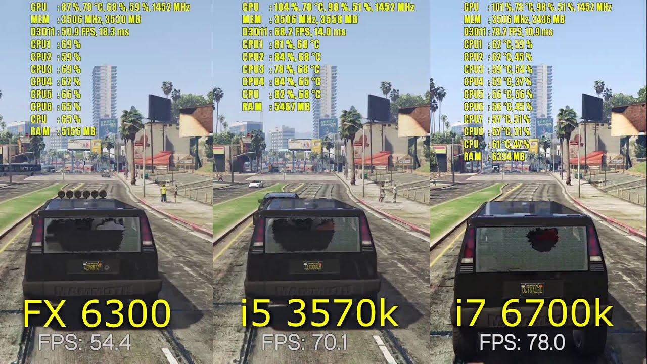 GTA 5 GTX 970 OC FX 6300 - i5 3570k - i7 6700k   1080p FXAA and ...