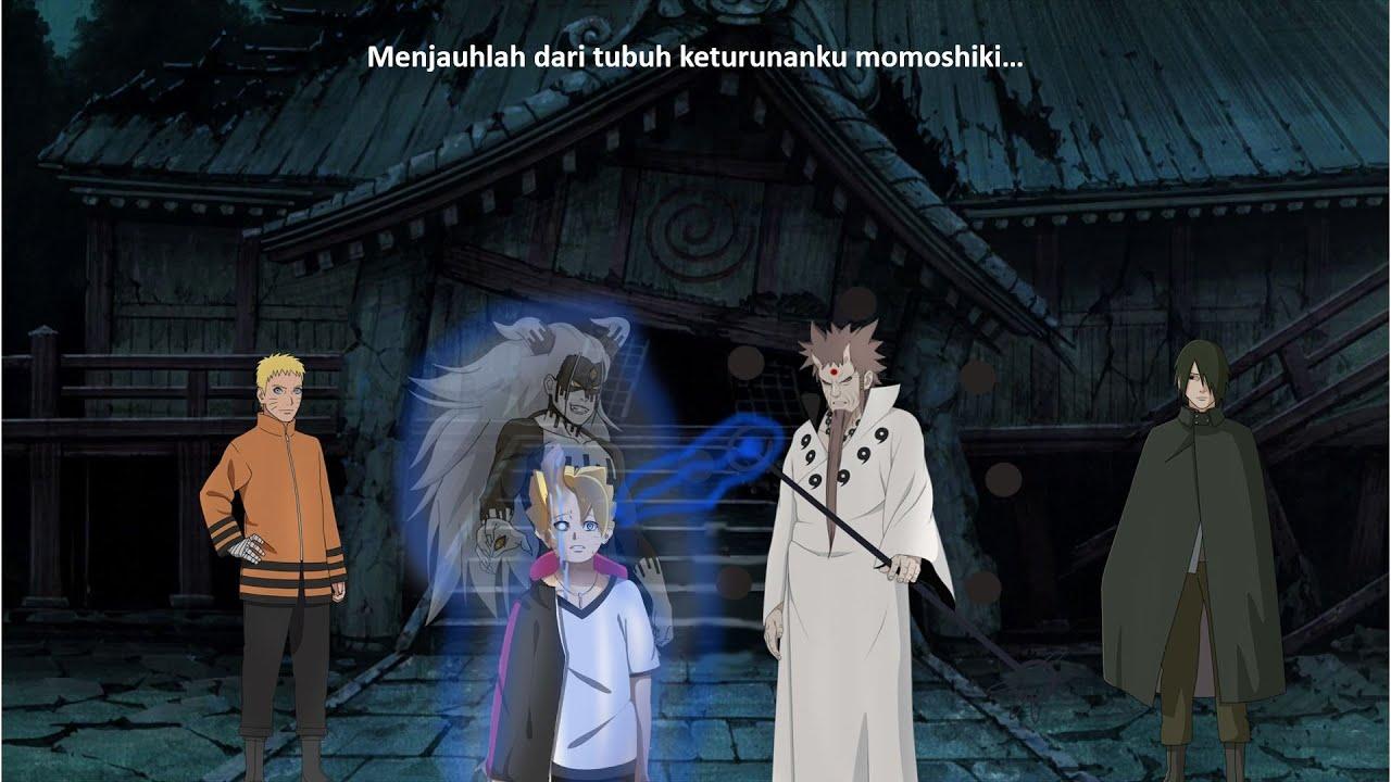 Hagoromo Menarik Jiwa Momoshiki keluar dari tubuh Boruto - Cara Boruto Lepas dari momoshiki