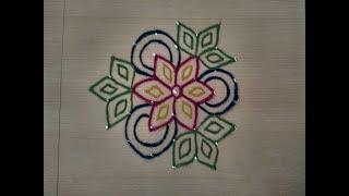 SIMPLE KOLAM DESIGN 7 X 4 DOTS/Muggulu designs with dots/Rangoli with dots/7 dots kolam/Colour kolam