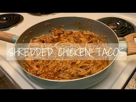 COOK WITH ME: EASY Shredded Chicken Tacos W/ Homemade Pico De Gallo