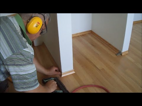 Installing White Oak Base Shoe Molding Baseboards after Floor Refinishing Mryoucandoityourself