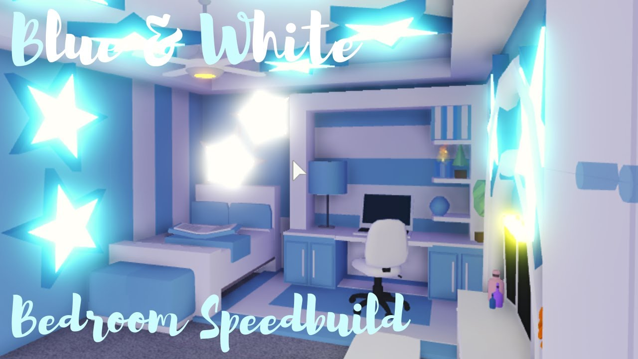 Blue White Bedroom Speedbuild Adopt Me Roblox Youtube