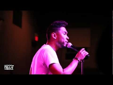 """Miguel performs """"Sure Thing"""" at Rutgers University."""