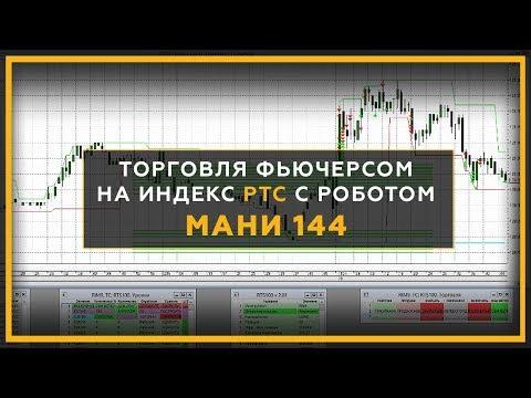 Торговля фьючерсом на индекс РТС с роботом МАНИ 144.  Трейдинг онлайн с Сергеем Змеевым. 18+