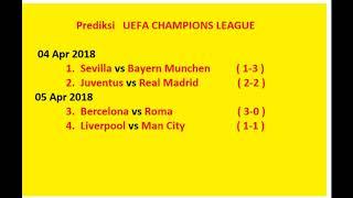 Prediksi UEFA CHAMPIONS LEAGUE juventus vs  Real madrid , Bercelona vs Roma , Liverpool vs Man City