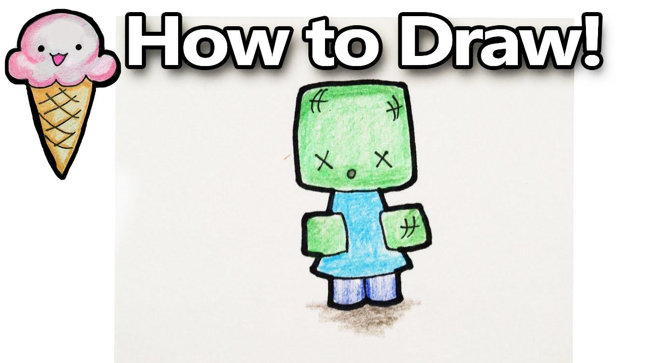 how to draw a minecraft zombie cartoon cute kawaii youtube