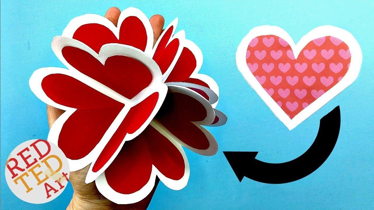 3d Pop Up Heart Card Diy Alternative Explosion Card Circular