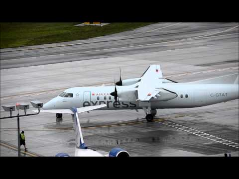 """Air Canada Express """"Bombardier Q-300"""" C GTAT taxi and takeoff PDX"""