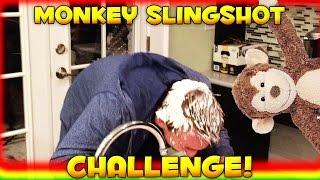 FLYING MONKEY SLINGSHOT CHALLENGE (Whipped Cream Prank)