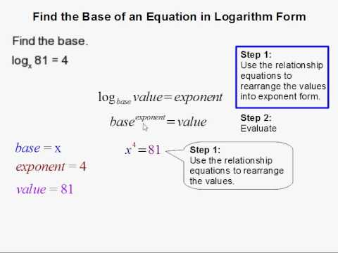 How to Find the Base of an Equation in Logarithm Form - YouTube