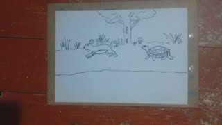 rabbit and turtle Tale of rabbit and turtle ,Drawing a rabbit and turtle