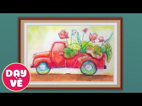 Watercolor Painting ♥ Vẽ xe tải chở hoa sen bằng màu nước ♥ Dạy vẽ