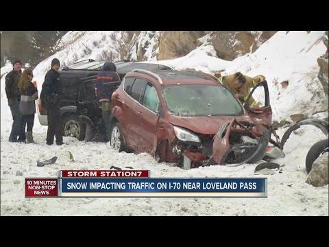 Snow impacts I-70 traffic near Loveland Pass