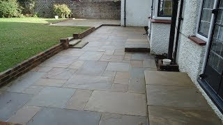 Block Paving Time lapse...Indian Stone Patio   http:/oaklands-landscaping.com