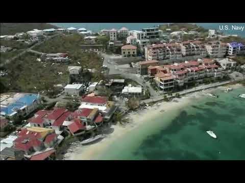 Aerial footage of Hurricane Irma damage to the Virgin Islands.