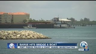 Barge and boat collide
