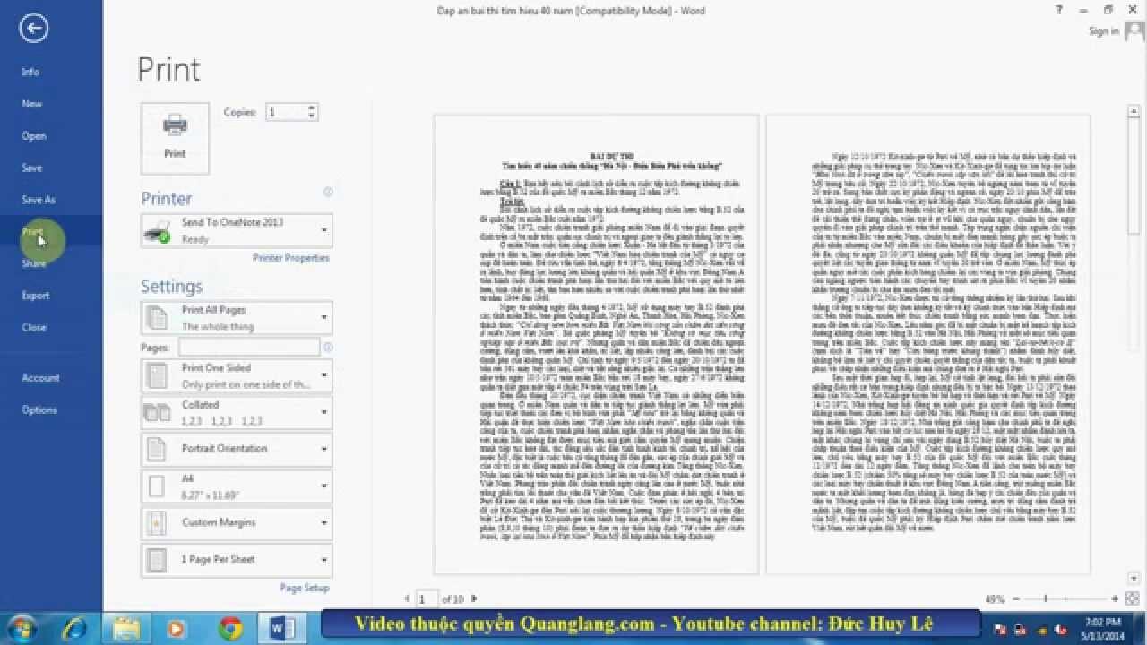 In nhiều trang trên một tờ giấy trong Word 2010, 2013