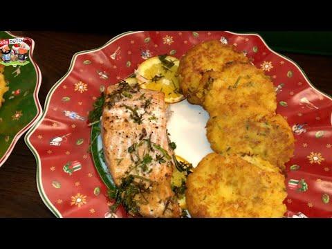 easy recipe: Salmon with the holiday season herbs and sweetpotatoe cakes