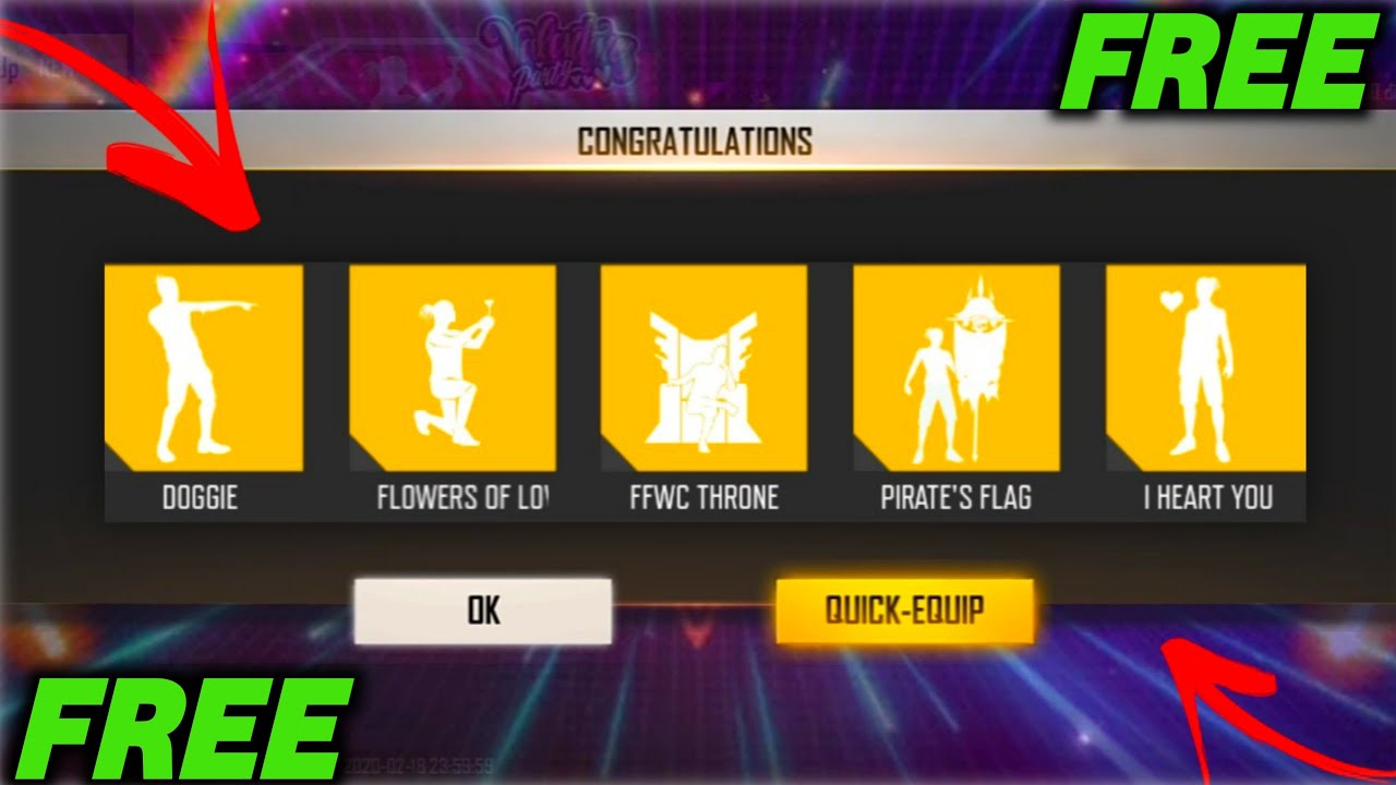 New Trick To Get Free Legendary Emotes & Magic Cube Diamonds At Free Fire 2020