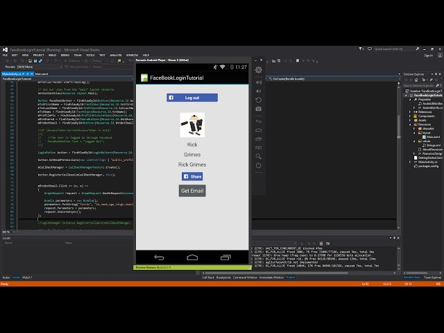 Xamarin Android Tutorial 72 Retrieving Email with Facebook Graph API
