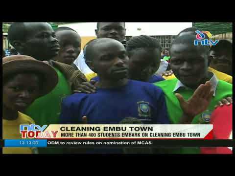 University of Embu students participate in town cleaning exercise