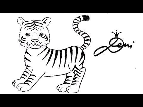 Tiger Schnell Zeichnen Lernen Für Kinder How To Draw A Tiger Baby