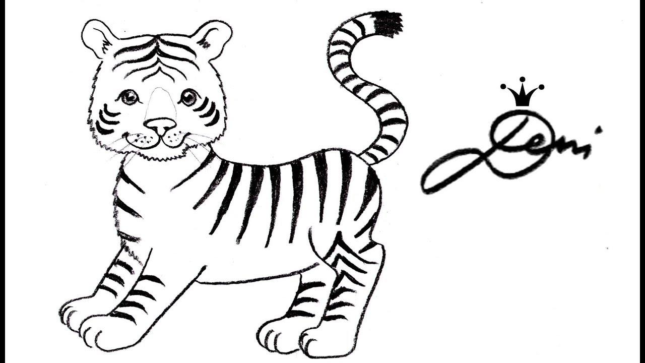 Tiger schnell zeichnen lernen für Kinder 🐯 how to draw a