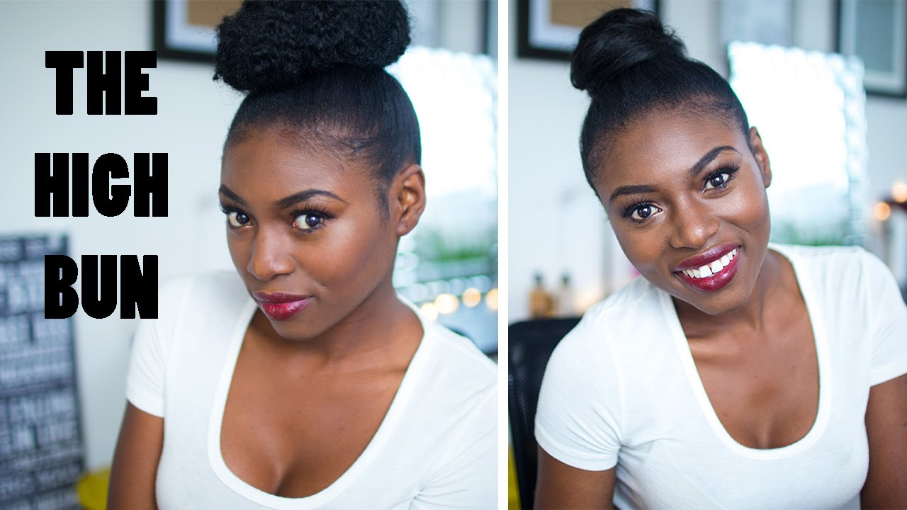 Sleek High Ballerina Bun Kinki Bun On My Natural Hair Youtube