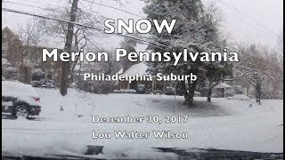 Merion Pennsylvania Snow 12 30 2017 Philadelphia Garmin GPS/Dashcam