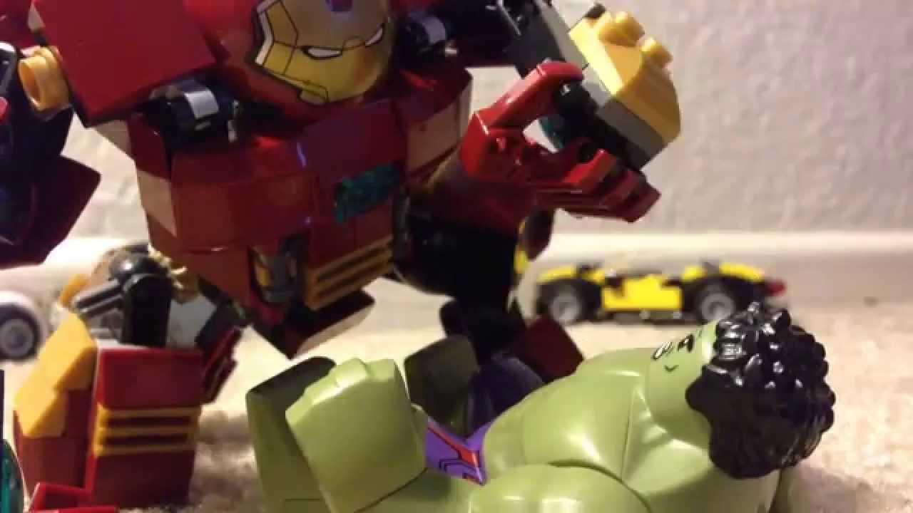 Avengers age of ultron lego hulkbuster vs hulk stop motion ...