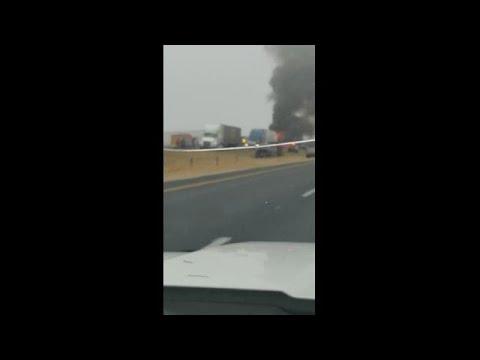 Fiery crash in Atascosa County involving 30-40 vehicles.