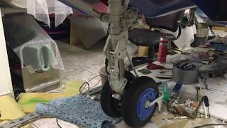 The nose landing gear of MiG-29's rc-model in action