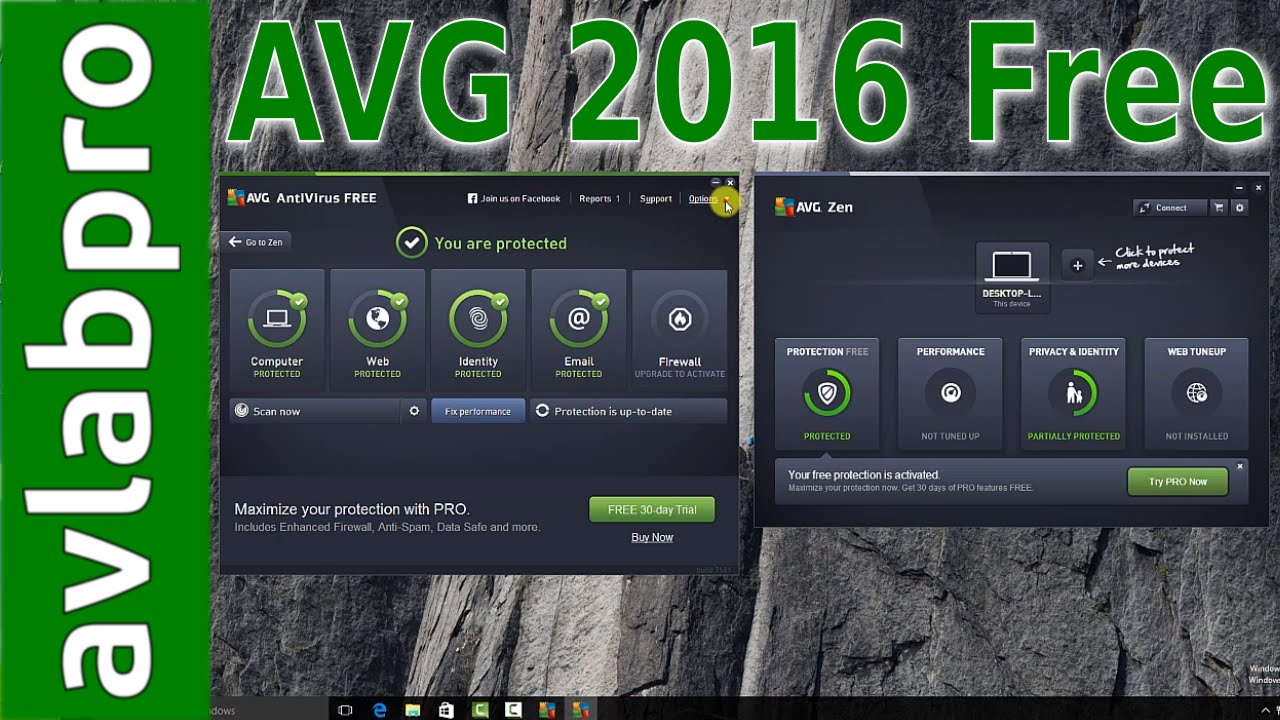 AVG 2016 Free AntiVirus on Windows 10