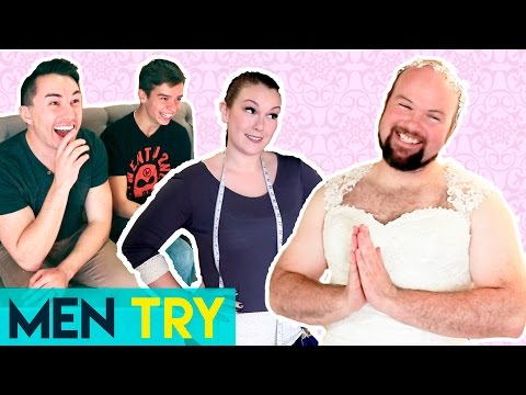 Men Try on Wedding Dresses for the First Time